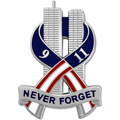 9-11 Never Forget Commemorative Pin - Silver