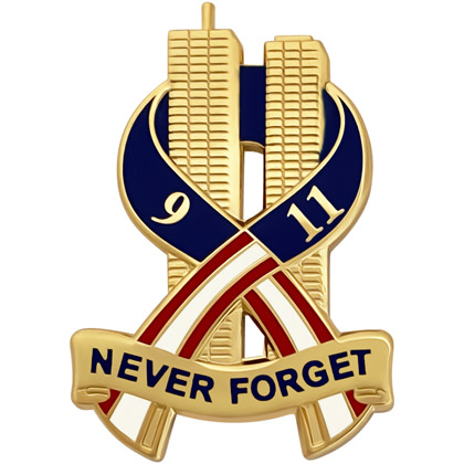 9-11 Never Forget Commemorative Pin - Gold