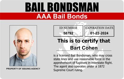 Bail Bondsman Agent Photo ID Card