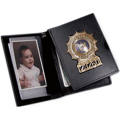 Bi-Fold Flip Out Badge Wallet With Single ID Window & 3 CC Slots