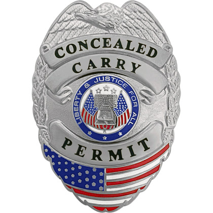 Concealed Carry Permit Mini Badge - Silver