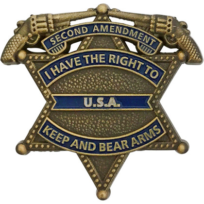 I Have The Right To Keep And Bear Arms Mini Badge - Antique Gold