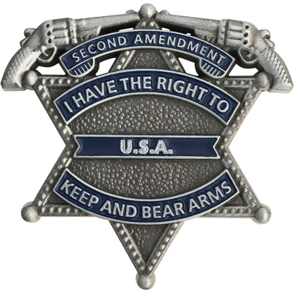 I Have The Right To Keep And Bear Arms Mini Badge - Antique Silver