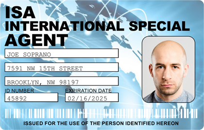 International Special Agent Photo ID Card