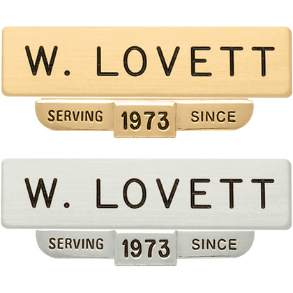 "5/8"" x 2-1/2"" Uniform Nameplate With ""Serving Since"" Hanging Bar"