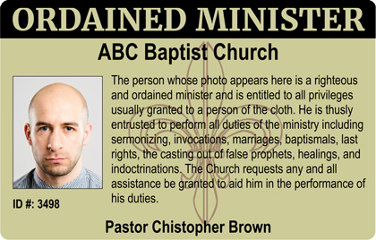 Ordained Minister Photo ID Card