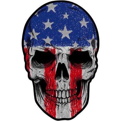 Patriotic Skull Flag Sticker