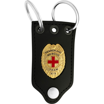 Search And Rescue Team K9 Badge Leather Holder