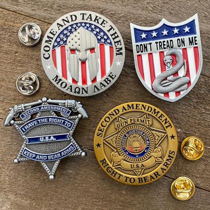 Second Amendment Patriotic Lapel Pins - Collectible 4 Pack