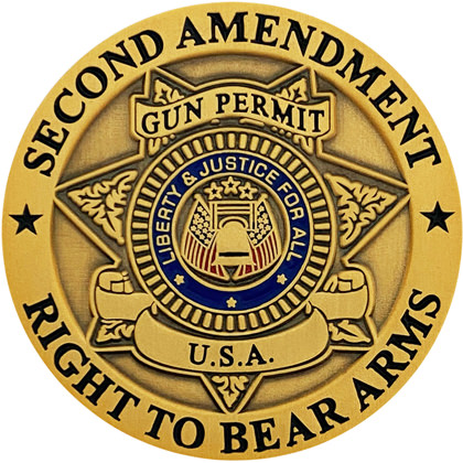 Second Amendment Right To Bear Arms Pin - Antique Gold
